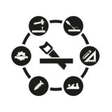 Insieme nero dell'icona di carpenteria di vettore Fotografia Stock Libera da Diritti