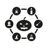 Insieme nero dell'icona di Halloween di vettore Immagini Stock Libere da Diritti
