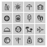 Insieme nero dell'icona di viaggio di vacanza di vettore Fotografia Stock