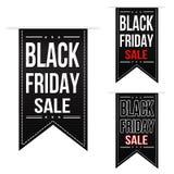 Insieme nero di progettazione dell'insegna di vendita di venerdì fotografia stock