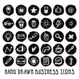 Insieme nero disegnato a mano di vettore delle icone di affari di scarabocchio Immagine Stock