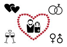 Insieme nero e rosso di nozze Vettore illustrazione vettoriale