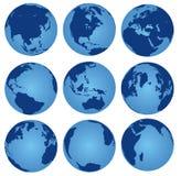 Insieme nove del globo del mondo di vista Immagini Stock