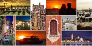 Insieme o collage delle immagini della città di Venezia Fotografia Stock Libera da Diritti