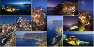 Insieme o collage delle immagini di Cinque Terre Fotografia Stock Libera da Diritti