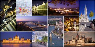 Insieme o raccolta delle immagini della città di Budapest Immagine Stock
