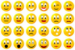 Insieme o raccolta giallo di smiley Fotografia Stock