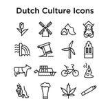 Insieme olandese di vettore delle icone della cultura ENV Fotografie Stock
