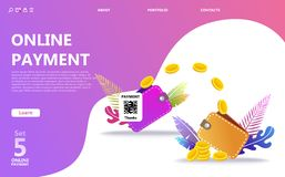 Insieme online dell'illustrazione di concetto di pagamento illustrazione vettoriale