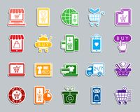 Insieme online di vettore delle icone dell'autoadesivo della toppa del negozio illustrazione di stock