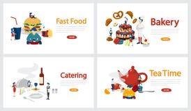 Insieme orizzontale dell'insegna di servizio ristoro Forno ed approvvigionamento illustrazione di stock