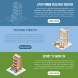 Insieme orizzontale isometrico piano dell'insegna di vettore della costruzione dell'appartamento illustrazione di stock