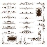 Insieme ornamentale di vettore dei confini e degli angoli di progettazione degli ornamenti d'annata Fotografie Stock