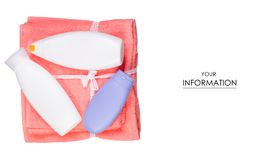 Insieme per il modello della crema del gel della doccia dell'asciugamano di bagno Fotografia Stock Libera da Diritti