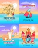 Insieme per sempre adorabile di estate delle illustrazioni di vettore Fotografie Stock Libere da Diritti