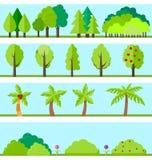 Insieme piano degli elementi degli alberi Fotografie Stock Libere da Diritti