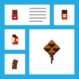 Insieme piano del cioccolato dell'icona oggetti a forma di di Antivari di cioccolato, della scatola di altro di vettore, delizios Fotografia Stock Libera da Diritti