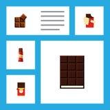 Insieme piano del dolce dell'icona del dessert, della scatola a forma di, del cacao e di altri oggetti di vettore Inoltre include Immagini Stock Libere da Diritti