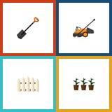 Insieme piano del giardino dell'icona della falciatrice da giardino, della barriera di legno, del vaso da fiori e di altri oggett Immagini Stock Libere da Diritti