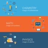 Insieme piano del modello delle insegne delle icone di concetto di istruzione di scienza Fotografie Stock Libere da Diritti