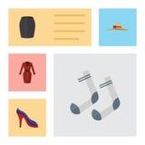Insieme piano del vestito dall'icona dei vestiti, dell'abito alla moda, del copricapo elegante e di altri oggetti di vettore Inol Immagine Stock Libera da Diritti
