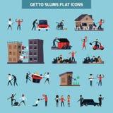 Insieme piano dell'icona dei bassifondi del ghetto illustrazione di stock