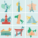 Insieme piano dell'icona dei punti di riferimento del mondo Viaggio e turismo Vettore Fotografia Stock