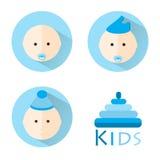 Insieme piano dell'icona del bambino dei bambini I bambini vector l'insieme Immagine Stock