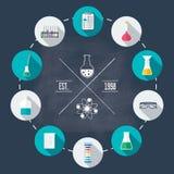 Insieme piano dell'icona del laboratorio chimico Ricerca scientifica Progettazione piana Vettore Immagine Stock