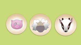 Insieme piano dell'icona del maiale, delle pecore e della capra Immagine Stock Libera da Diritti