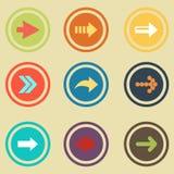 Insieme piano dell'icona del segno della freccia Bottone semplice di Internet Fotografie Stock Libere da Diritti