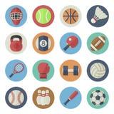 Insieme piano dell'icona dell'attrezzatura di sport Fotografia Stock