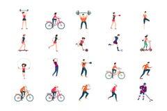 Insieme piano dell'icona della gente di forma fisica Metta in mostra il personaggio dei cartoni animati della donna e dell'uomo i illustrazione di stock