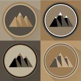 Insieme piano dell'icona della montagna Illustrazione di vettore Immagini Stock Libere da Diritti