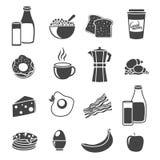 Insieme piano dell'icona della siluetta della prima colazione royalty illustrazione gratis