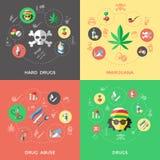 Insieme piano dell'icona delle droghe illustrazione vettoriale