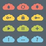 Insieme piano dell'icona delle nuvole. Fotografia Stock Libera da Diritti