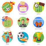 Insieme piano dell'icona di calcio Immagini Stock Libere da Diritti