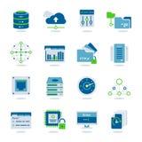 Insieme piano dell'icona di centro dati illustrazione di stock