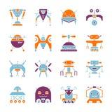 Insieme piano dell'icona di colore di stile della macchina di famiglia del robot illustrazione di stock