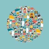 Insieme piano dell'icona di comunicazione Immagine Stock
