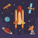 Insieme piano dell'icona di esplorazione spaziale illustrazione di stock