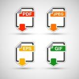 Insieme piano dell'icona di formato di file Fotografie Stock