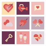 Insieme piano dell'icona di giorno di S. Valentino Fotografie Stock Libere da Diritti