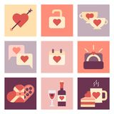 Insieme piano dell'icona di giorno di S. Valentino Fotografia Stock Libera da Diritti