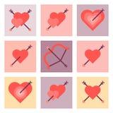 Insieme piano dell'icona di giorno di S. Valentino Fotografia Stock