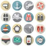 Insieme piano dell'icona di immersione subacquea di progettazione