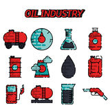 Insieme piano dell'icona di industria petrolifera Fotografia Stock