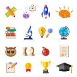 Insieme piano dell'icona di istruzione online Immagini Stock Libere da Diritti