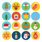 Insieme piano dell'icona di Natale di progettazione Fotografia Stock